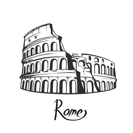 Signe de colisée de rome. Célèbre monument italien Colisée. Label de voyage en Italie. Icône d'architecture de Rome avec lettrage Vecteurs