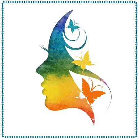 Vector illustratie van vrouw's silhouet met mooi haar