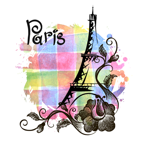 Hand drawn Eiffel Tower. Paris, vector illustration Vector Illustration