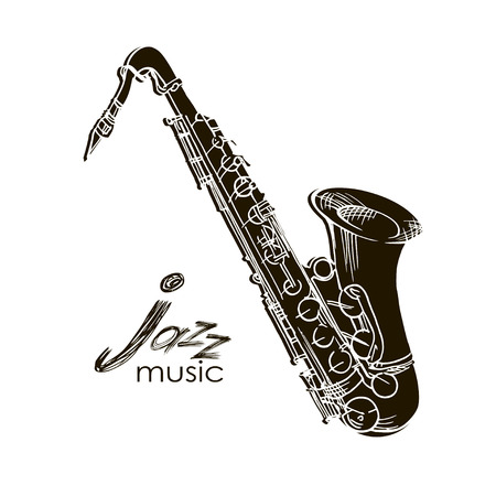 Saxophone hand drawn sketch doodle illustration.