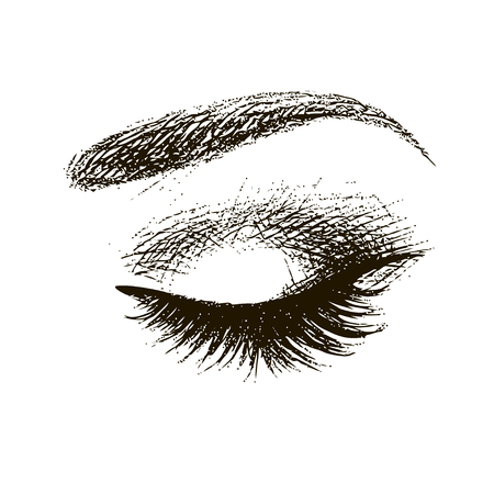 Beautiful closed eye with long eyelashes icon Illustration