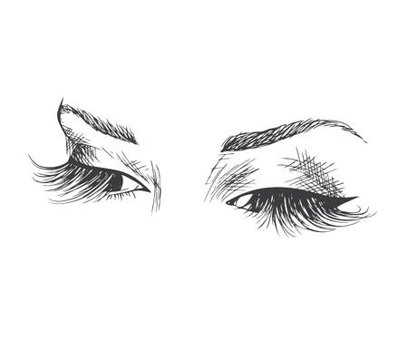 Ojos cerrados con pestañas largas Logotipo de muestra para un salón de belleza, productos de belleza.