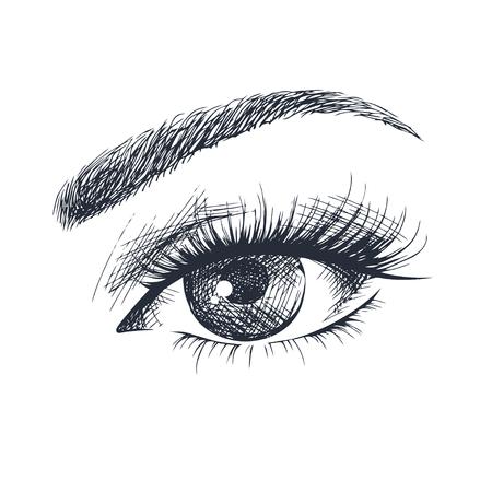 Handgetekend mooi vrouwelijk oog. Stock Illustratie