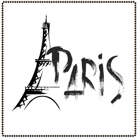 Eiffel Tower icon in sketch style with hand drawn word paris, doodle vector illustration Ilustrace