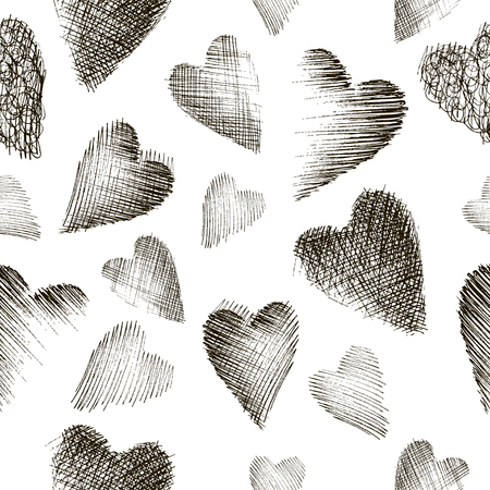 pen and marker: Doodle hearts monochrome seamless vector pattern. Valentines Day background. Marker drawn different heart shapes. Hand drawn ornament.