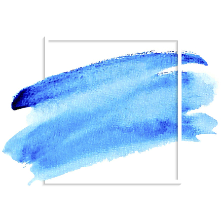 Blue isolated spot on white background. Watercolor hand drawn blue illustration. Abstract wet brush painted paper texture. Design artistic element for banner, print, template, cover, decoration Illustration
