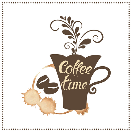 Its coffee time conceptual card. Design card, poster in retro style for coffee break, shop or cafe. Vector illustration