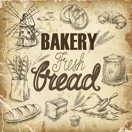 Set of hand drawn rough simple sketches of different kinds of bread.