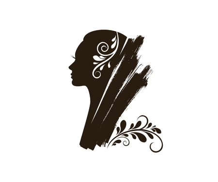 Silhouette of a beautiful young woman with long hair. Black silhouette on a white background. Vector illustration.