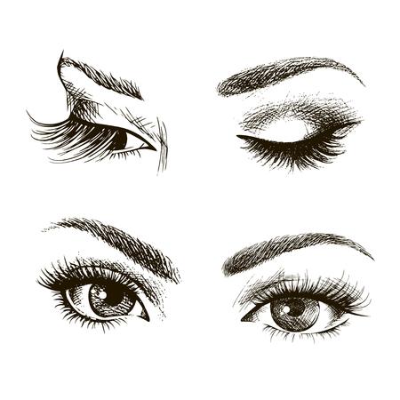 Gli occhi delle donne disegnati a mano vintage. Illustrazione vettoriale Fashion design, occhi chiusi e aperti