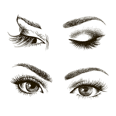 Hand drawn womens eyes vintage. Vector illustration. Fashion design, Closed and open eyes Çizim