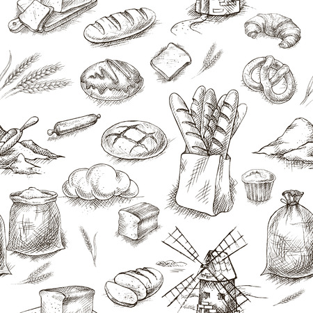 Bakery retro seamless pattern. Vintage Illustration. Sketch bread 向量圖像