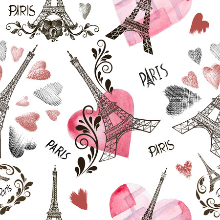 Seamless background with symbols of Paris - Eiffel Tower and a heart
