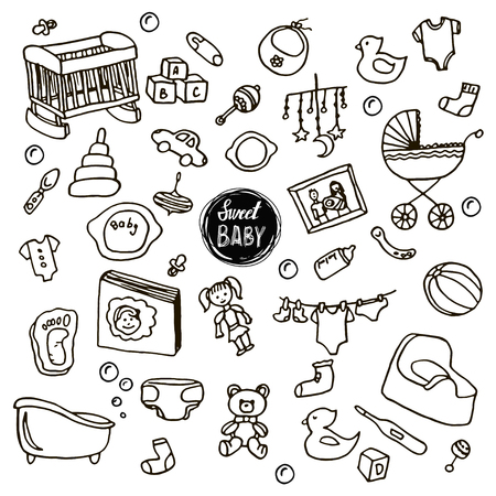 Newborn infant themed cute doodle set. Baby care, feeding, clothing, toys, health care stuff, safety, accessories. drawings isolated. Sketches. Hand-drawing. Vector illustration for design and packages product