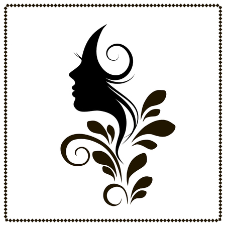 Silhouette of a beautiful young woman with long curly hair. Black silhouette on a white background. Vector illustration.