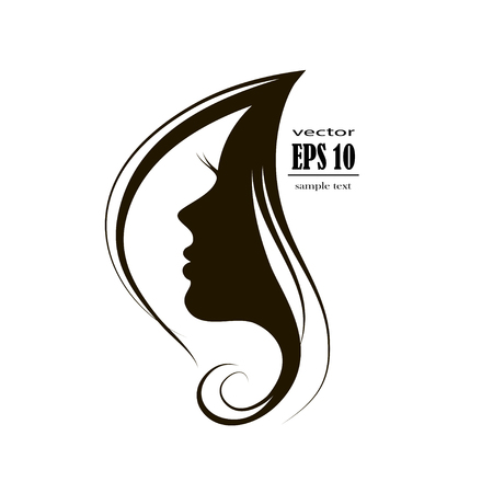 Beautiful woman face silhouette in profile, Hair Fashion icon.