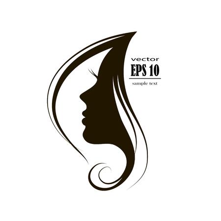 Beautiful woman face silhouette in profile, Hair Fashion icon.