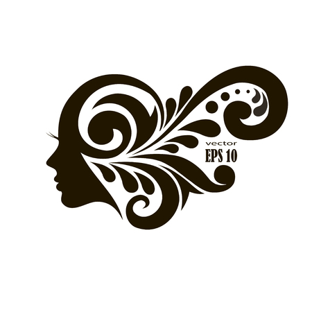Vector illustration of woman with beautiful hair - can be used as a logo for beauty salon. Stock Illustratie