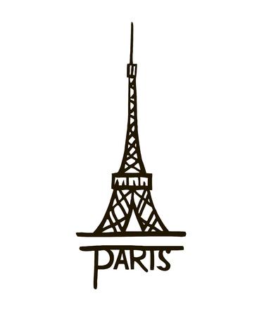 vector Eiffel tower isolated, hand drawn illustration Stock Illustratie