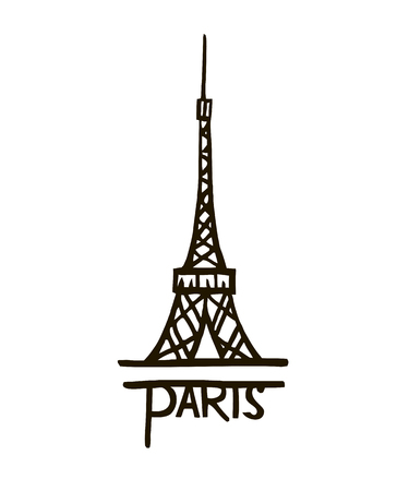 vector Eiffel tower isolated, hand drawn illustration 矢量图像