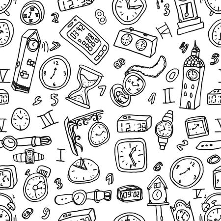 Fondo transparente de relojes. Símbolos de tiempo de vector. Ilustración dibujada a mano.