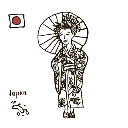 Japan, geisha. Japanese Woman.Beautiful Japanese woman in kimono national . Silhouette of a Japanese woman.