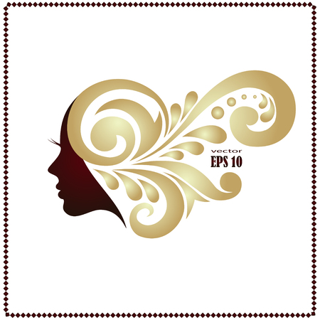 女性の短い髪型のアイコンのイラスト、ロゴ女性は白い背景、ベクトルに顔