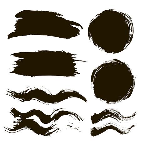 brush stroke, ink grunge stains set Çizim