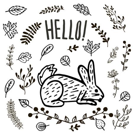 hand drawn cute hare or rabbit. Vektorové ilustrace