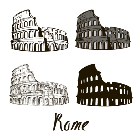 Coliseum in Rome, Italy. Colosseum hand drawn vector illustration isolated over white background sketch