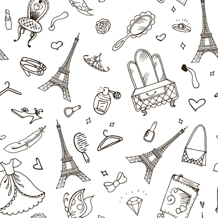Eiffel Tower seamless pattern. French vector background.