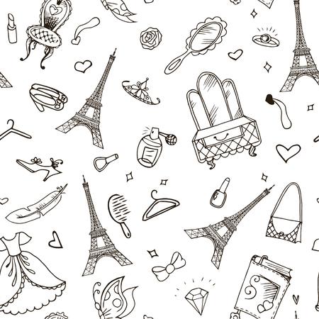 Patrón sin fisuras de la Torre Eiffel. Fondo de vector francés.