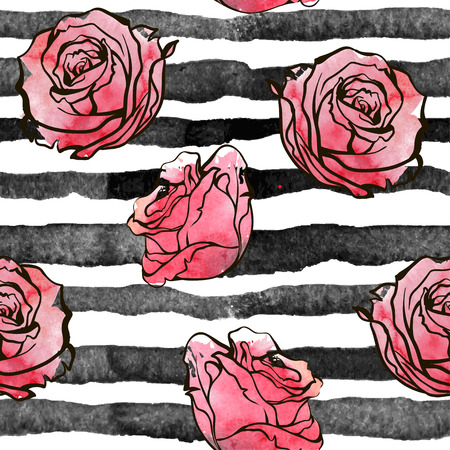 red roses on the striped nautical background. Watercolor seamless pattern with big flowers. Illusztráció
