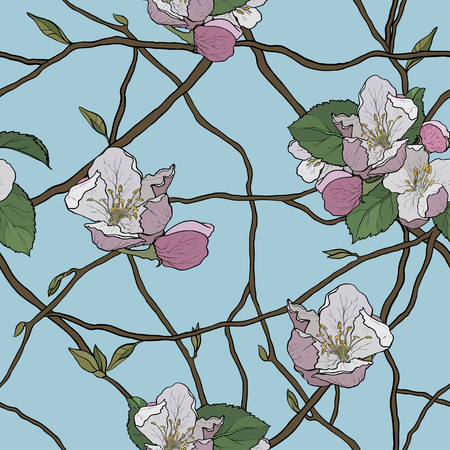 Apple-tree seamless background, pattern of blooming branches, spring flowers Illustration