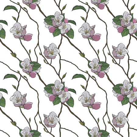 Seamless pattern with styled spring blossoms Illusztráció