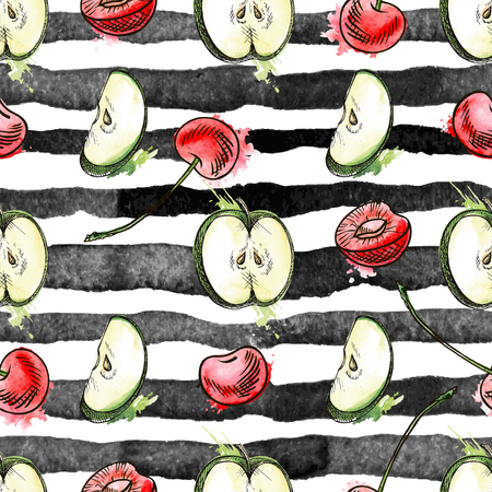 Vector fruit and berry apple and cherry seamless pattern. Background design for natural care products