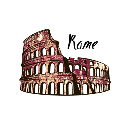 Colosseum in Rome on a white background. Italy Landmark architecture. Ilustrace
