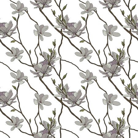 Seamless vector floral pattern background with hand drawn tropical japanese flowers, magnolia, spring branches. Perfect for wallpapers, web page backgrounds, surface textures, textile. Illusztráció
