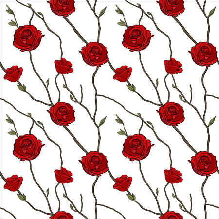 Seamless background with branches of red roses. Vector illustration.
