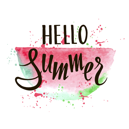 Vector summer background with hand drawn slice of watermelon and hand written text Hello summer. Bright poster with lettering and grunge texture. Illusztráció