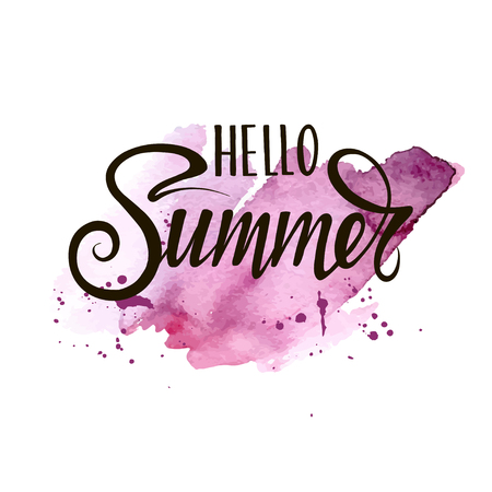 Summer, hand paint vector lettering on a abstract color spots, summer design, banner, typography poster.