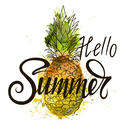 Happy Summer inscription on the background of pineapple. Vector illustration. Hand drawn