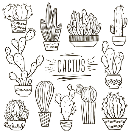 Cute hand drawn vector cactuse in the pots