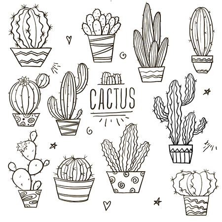 Cute cactus and succulents collection with doodle outline illustrations. Botanical set with different cacti Illusztráció