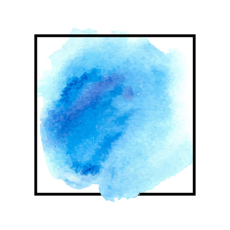 blue watercolor splotch. abstract soft ink splash on white paper