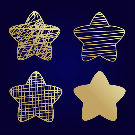 Vector star icons set. Golden