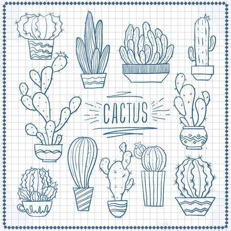 Black and white drawing, sketch, doodle. Cactus, houseplants, flowers, succulents in pots on a white background  イラスト・ベクター素材