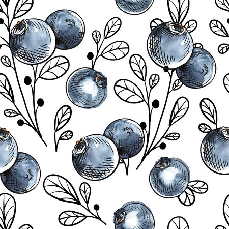 Blueberry vector seamless pattern. Natural fresh ripe tasty blueberries on white. For backgrounds, packaging, textile and various other designs.