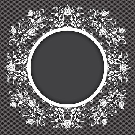 Elegant background with lace ornament and place for text. Floral elements, ornate background. Vector illustration.