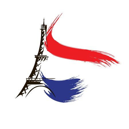 Eiffel Tower in Paris vector illustration, hand drawn famous french landmark silhouette on a white background 向量圖像